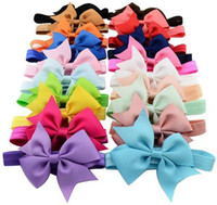 Wholesale Hairband Ribbon Bows - Baby Hair Bows 4 Inch Ribbon Bow Headbands for Girls Infant Elastic Hair Accessories Kids Hairband Fashion Princess Headdress 20 Colors