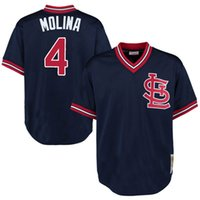 Baseball st collection - St Louis Cardinals baseball jerseys Yadier Molina Mitchell Ness Navy Authentic Cooperstown Collection Mesh Batting Practice Jersey