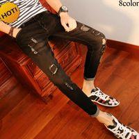 Wholesale Cheap Skinny Legs Jeans - New 2017 spring autumn causal Ripped Hole Cheap Hip hop pencil pants Skinny jeans men solid leg Slim fit Denim Teenager biker jeans 28-34