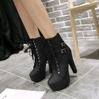 Wholesale High Heels Waterproof Boots Women - Free Shipping New Winter Boots Lace High-heeled Boots Round Buckle Waterproof Boots Martin Woman Fashion Boots Woman Boots
