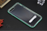 Wholesale Iphone5 Silicone Back Case Pc - For iphone 7 plus case Kickstand PC frame+silicone TPU back cover Luxury 2 in 1 back cover for iphone5 6 6S 7