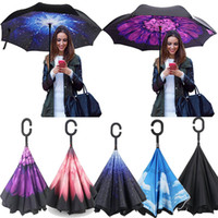 Wholesale Creative Inverted Umbrellas Double Layer With C Handle Inside Out Reverse Windproof Umbrella colors