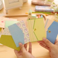 Wholesale Valentine Card Messages - Wholesale- 6pcs set Floral Paper Postcard Envelope Decoupage Post Greeting Card Happy Birthday Message Picture Valentine Day Cards