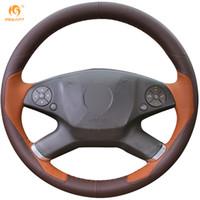 ingrosso volante in pelle marrone-Coprivolante per automobile in pelle marrone scuro Mewant per Mercedes-Benz E300L 2010-2013
