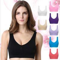 tanque de racerback de ioga venda por atacado-Esporte Sutiãs de Yoga Ginásio Sutiã de Fitness Mulheres Seamless Racerback Anti-Vibração Tanque Elástico Top Colete Respirável Camisas Underwear Acolchoado OOA1961