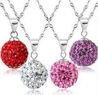 Wholesale Disco Ball Sterling - 30% 925 sterling silver Shamballa Jewelry Pendant Necklaces, White New Shamballa Necklaces Micro Pave CZ Disco Ball Beads