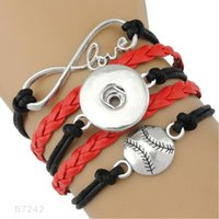 Wholesale Wholesale Basketball Jewelry - (10 Pieces Lot)Infinity Love Snap Button Volleyball Soccer Baseball Basketball Softball Charm Leather Bracelets For Women Men Gifts Jewelry