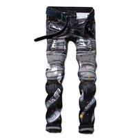 Wholesale Bp American - 2016 fall winter black jeans for men top quality cotton jeans BP moto biker jeans, mens long pants youth fashion draped jeans