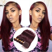 Wholesale Hair Dye For Weaved - Brazilian hair bundle with closure human hair for black women closure with bundles extension burgundy straight weave closure