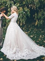 Wholesale Sexy Modest Wedding Gown - Vintage Beaded Lace A Line Wedding Dressses with Illusion Half Sleeves 2017 Modest Chapel Train Ivory Applique Tulle Plus Size Bridal Gowns