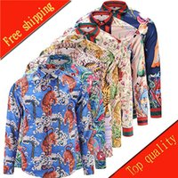 Wholesale New Autumn Fashion Brand Men Colthes Slim Fit Men Long Sleeve Shirt Medusa gold chain print Shirts Men Casual Business Shirts