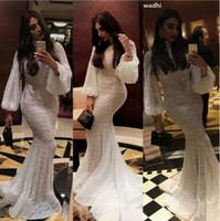 vestido muçulmano fishtail venda por atacado-2019 Modest Lace Muçulmano Kaftan Manga Comprida Sereia Vestidos de Casamento de Manga Longa De Pescoço de Peixe De Peixe Vestido De Noiva yousef aljasmi