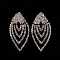 Wholesale European Blue Rhinestones - European Popular Women Brand Earings 2017 Minlover Silver&Blue Colors Austrian Crystal Drop Long Earrings for Women Rhinestone New Year gift