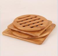 bambus rutscht großhandel-Verdickt Bambus Geschirr Matten rutschfeste Dämmunterlagen Platzierung Bambus Holz Tischsets Geschirr Coaster Küche Zubehör