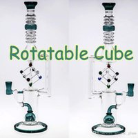 Wholesale Cubed Function - Junior Bongs Rotatable Cube Glass Oil Burner Fashion Dab Rig Water Bongs Oil Rigs Water Pipe Beaker Glass Pipes Two Function Hookah Pipes