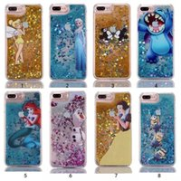 Wholesale Iphone 5s Sparkle Cases - Bling Glitter Hard PC Case for iphone 5S se 6 6s 7 8 plus Stitch minios Mermaid Snow White Quicksand Cartoon Sparkle Cover