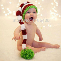 Wholesale Baby Girl Stocking Hats - Cute Newborn Santa Elf Hat,Pure Handmade Knit Crochet Baby Boy Girl Christmas Pompom Stocking Hat,Infant Toddler Photography Prop