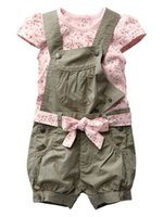Wholesale Short Overalls For Baby Girls - Wholesale- Retail 2016 Baby Girls Summer Suits Girls Cotton Clothing Sets For 0-2 Yrs Baby Floral t-shirt + Overalls + Belt Free Shipping