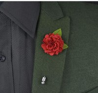Wholesale Silk Suits China - 2017 NEW Colored silk red flower green leaf corsage wedding brooches pin men's suit flower brooches for wedding party