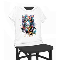 Wholesale Tiger Shirts For Girls - Colorful Cute Tiger Print Beauty T-shirt Funny T Shirts Short Sleeve Tee Shirt Tops Clothes Women's Summer T-Shirt For Women Lady Girl