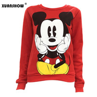 Wholesale Mouse Jumpers - Womens Character Mouse Printed Fleece Sweatshirt Hoodies Casual Pullover Cute Jumpers Top Long Sleeve O-Neck Fleece Swatershirts XXL