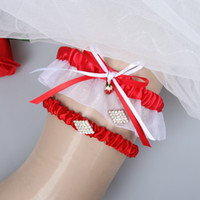 a22f3b8c59a Wholesale red garters for sale - 2 Pieces White Red Wedding Bridal Garters  For Bride Set