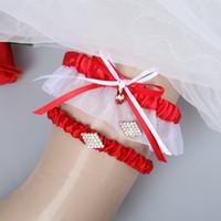 liga de boda blanca roja al por mayor-2 piezas blanco rojo boda nupcial ligas para novia conjunto boda nupcial pierna ligas barato en Stock