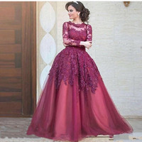 Wholesale Long Robe Soiree Sequin - 2017 Elegant Robe De Soiree Burgundy Evening Dresses With Long Sleeve Lace Appliques Jewel Neck A Line Long Formal Pageant Party Gowns