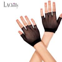 Wholesale Wholesale Fishnet Gloves - Wholesale- 2017 New Adult Fishnet Mesh Popular Short Gloves Fingerless Wrist Length Fishnet Gloves LC73127