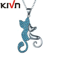 KIVN Fashion Jewelry Animal Cat Pave CZ Cubic Zirconia Womens Girls Wedding Pendant Necklaces Promotion День рождения Рождественские подарки