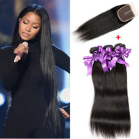 Wholesale Dyed Peruvian Lace Closure - Top Lace Closure With 3 Bundles Peruvian Virgin Hair Weaves Unprocessed Peruvian Straight Human Hair Extensions Natural Color Can Be Dyed
