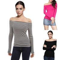 Wholesale Wholesale Stretch Long T Shirts - Wholesale-New Fashion 2016 Creative Fashion T Shirt Women Off Shoulder Long Sleeve Stretch Slim T-Shirt Stripe Casual Sexy T-shirt