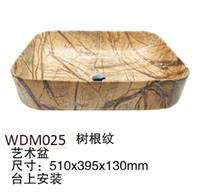 Wholesale Rectangular Wash Basins - ceramic bathroom basin artificial design plating electroplated Glaze Spraying ceramic wash basin solid wood