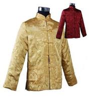 chaqueta de raso de oro al por mayor-Al por mayor- Chaqueta de satén de seda de los hombres chinos reversibles de Burgundy Gold Reversible tradicional con bolsillo tamaño S M L XL XXL XXXL M1044