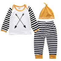 Wholesale Three Piece Boys Hooded Outfit - Wholesale Boys Girls Baby Clothing Sets Cotton Arrow tshirts Striped Pants Hats Set Spring Autumn Toddler Boutique Infant Clothes Outfits