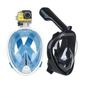 Wholesale Dive Breathing - Hot selling 180 degree scube diving equipment easy breathe full face scuba snorkel mask for go pro camera