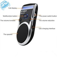 Wholesale Solar Calls - Wholesale-New Hands Free Car Kit Solar Powered Bluetooth Car Kit Handsfree Call Device LCD Display with Car charger For Mobile Cellphone