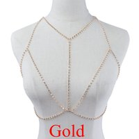 Wholesale Crystal Wedding Harness - Harness Bra Body Chain Rhinestone Bra Chain 2017 Women Fashion Gold Rhinestone Chains Jewelry Sexy Rhinestone Bra Body Chains Jewelry