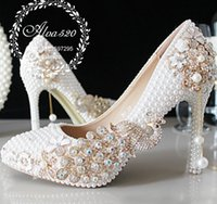 Wholesale Colored Rhinestone Heel Shoe - Splendid Imitation Pearls Colored Rhinestone Wedding Shoes With Phoenix Major Beading White Ponited Toe High Heel Women Pumps Bridal Gown