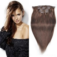 Wholesale European Hair Clips - Clip in Human Hair Extensions High Quality Color 1B, 2, 4 Black Brown Indian Virgin Remy Hair 7 Pieces 18-22inch 80g set