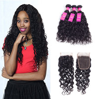 Wholesale Dye Brazilian Hair - 8A Brazilian Virgin Hair Water Wave Extensions and Lace Closure100% Unprocessed Human Hair Weave Natural Color Can be Dyed