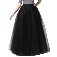 Wholesale Dreses Tutu - Fashion Simple Women Skirts 5 Layer Floor Length 2017 Adult Long Tutu Tulle Skirt A Line Plus size Long Dreses