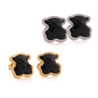Wholesale Cute Black Bears - TOU TOSO Fashion stainless steel black agate stud earrings women brand jewelry cute bears