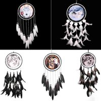 Wholesale Marriage Ornaments - Handmade Dreamcatcher Indian Style Eagle Wolf Pattern Feather Bead Dream Catcher Home Living Room Hanging Decor Ornament Art Crafts Gift