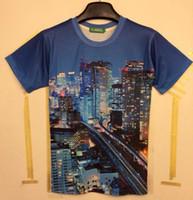 Wholesale New Beautiful Shirts - tshirt New arrival Fashion Funny 3D t-shirt men women's 3D Tshirt printed beautiful city night building T-shirt tops MDT108