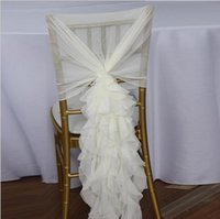Wholesale Tulle Chair Covers - Ruffled Chair Sashes White Ivory Champagne Chair Covers Custom Made Organza Tulle Wedding Supplies Chair Decorations Fast Shipping