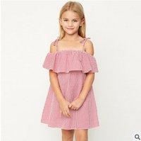 Wholesale Children S Wholesale Lace Dress - Big Girls dresses Children Dew shoulder falbala dress Kids lattice suspender dress s 2017 summer new children clothing 7-14T T0755
