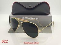 cam siyah ışık toptan satış-Bloke göz kamaştırıcı ışık Pilot Womens Için Mens Womens Outdoorsman Güneş Gözlükleri Lens Gözlük Altın Siyah Kılıf Ile 62mm Cam Lensler