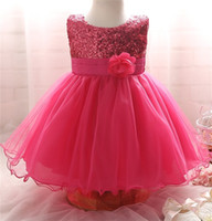 Wholesale Dresses For Ceremonies - Wholesale- Hot 2017 Toddler Baby Girls Clothes For Girls Ceremonies Party Wear Flower Kids Dresses Sequined Formal Dress For Infant 0-2Yrs