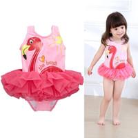 Wholesale Tutu Swimwear - Flamingo Baby Girls Bikini Bottoms One-pieces TuTu Princess Dresses Clothing Infant Toddler Kids Pink Swimwear Children Bathing